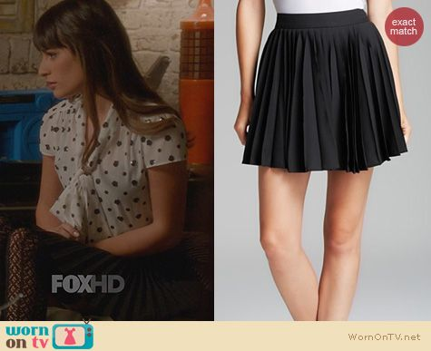 Rachel Berry Fashion: Alice + Olivia Olette Pleated Skirt worn by on Glee