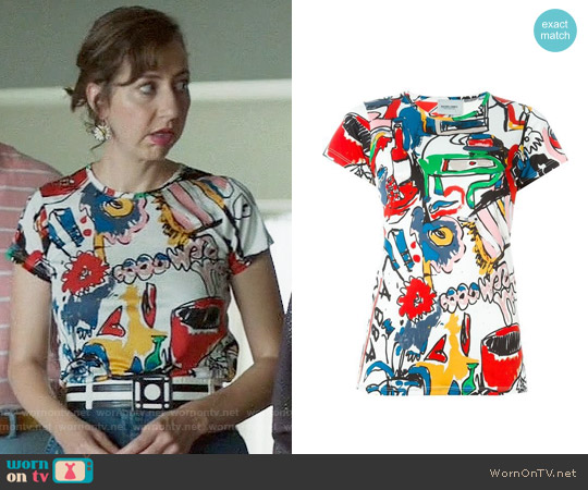Rachel Comey Picket Tee worn by Kristen Schaal on Last Man On Earth