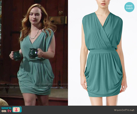 RACHEL Rachel Roy 24-Hour Sleeveless Draped Dress in Mermaid worn by Camryn Grimes on The Young & the Restless