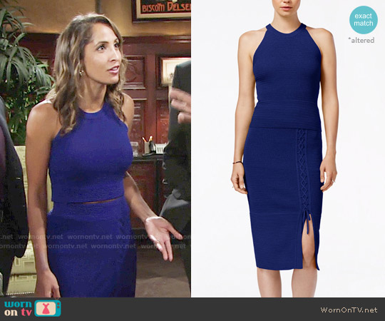 RACHEL Rachel Roy Crew-Neck Sleeveless Sweater and Lace-Up Sweater Skirt worn by Christel Khalil on The Young & the Restless