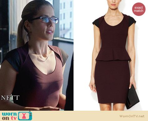 Rachel Roy Cap Sleeve Chambord Peplum Dress worn by Emily Bett Rickards on Arrow