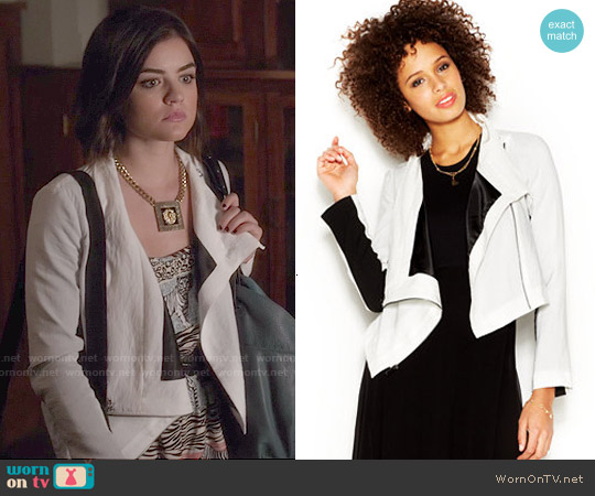 Rachel Roy Colorblocked Cropped Jacket worn by Aria Montgomery on PLL
