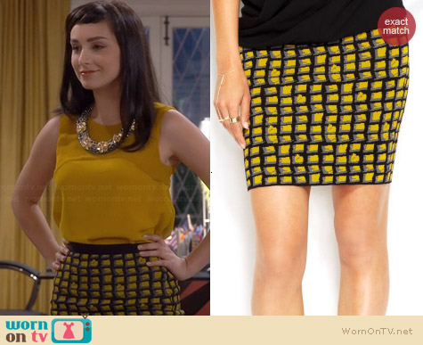 Rachel Roy Geometric Print Bodycon Skirt worn by Molly Ephraim on Last Man Standing
