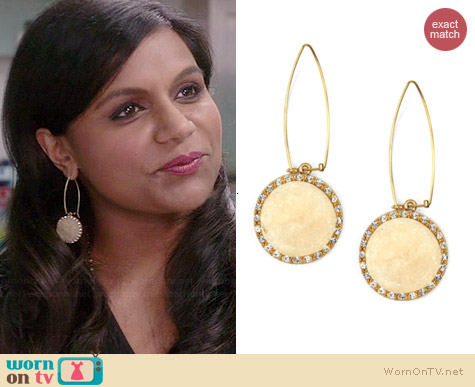 Rachel Roy Ivory Druzy Linear Drop Earrings worn by Mindy Kaling on The Mindy Project
