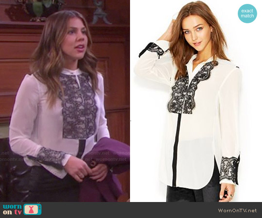 Rachel Roy Long-Sleeve Lace-Overlay Tuxedo Blouse worn by Marci Miller on Days of our Lives
