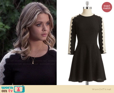Rachel Roy Lace Sleeve dress worn by Sasha Pieterse on PLL