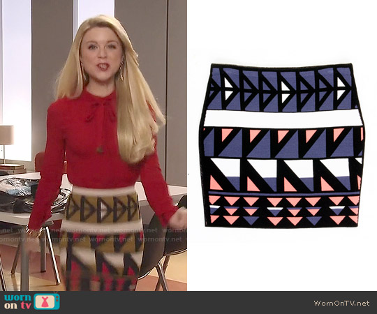 Rachel Roy Geometric Print Skirt worn by Lauren on Faking It