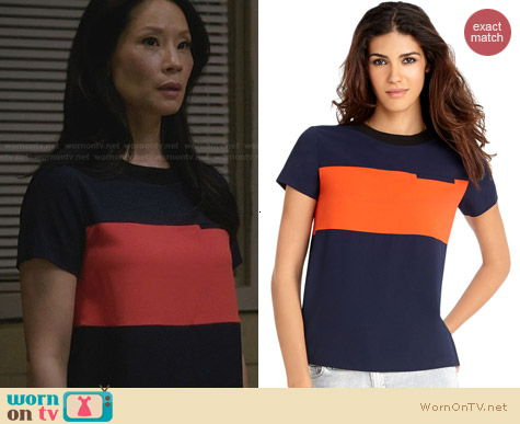 Rachel Roy Ribbed Crepe Tee worn by Lucy Liu on Elementary