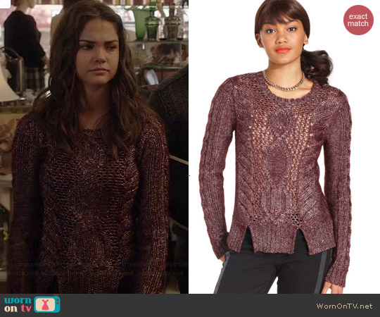 Rachel Roy Cable Knit Sweater worn by Maia Mitchell on The Fosters