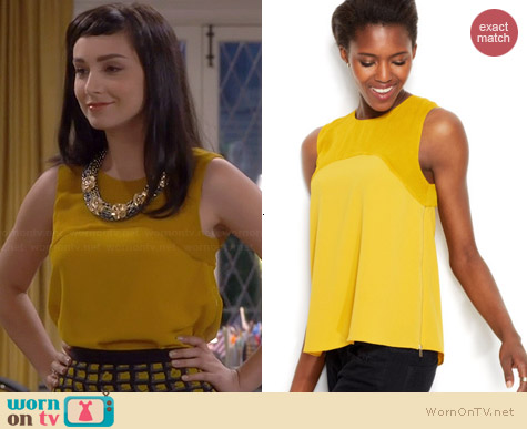 Rachel Roy Sleeveless Semi-sheer Yoke Top worn by Molly Ephraim on Last Man Standing