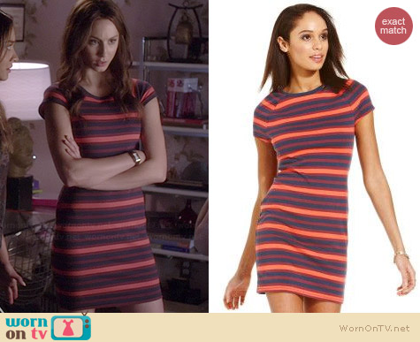Rachel Roy Striped Dress worn by Troian Bellisario on PLL