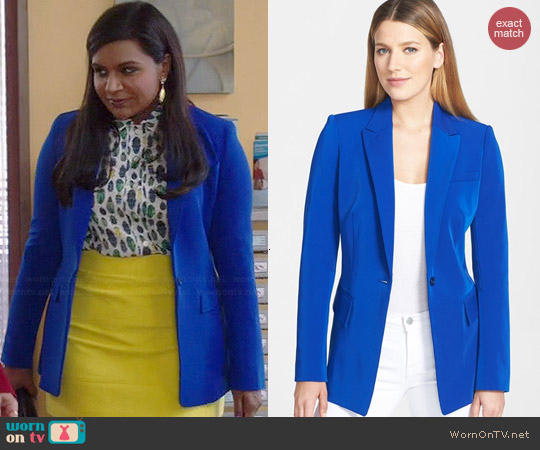 Rachel Roy Fitted One-Button Techno Blazer worn by Mindy Kaling on The Mindy Project