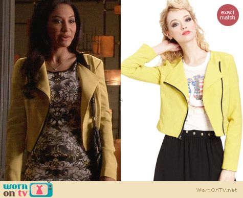 Rachel Roy Zipper Moto Jacket in Yellow worn by Naya Rivera on Glee