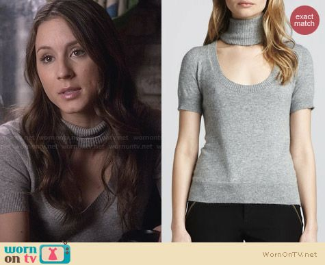 Rachel Zoe Deedee Cutout Turtleneck Sweater worn by Troian Bellisario on PLL