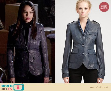 Rachel Zoe Finn Leather Jacket worn by Janel Parrish on PLL