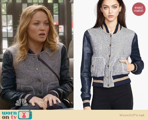 Rachel Zoe Ryder Baseball Jacket worn by Erika Christensen on Parenthood