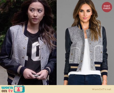 Rachel Zoe Ryder Baseball Jacket worn by Shay Mitchell on PLL