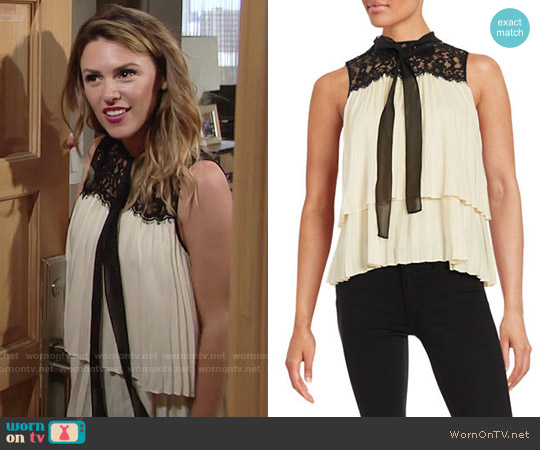 Rachel Zoe Tiered Sleeveless Blouse worn by Elizabeth Hendrickson on The Young & the Restless