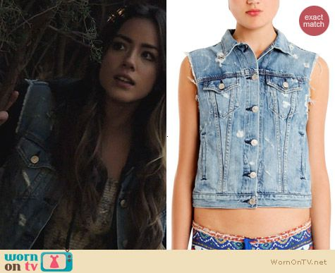 Rag & Bone Burney Denim Vest worn by Chloe Bennett on Agents of SHIELD