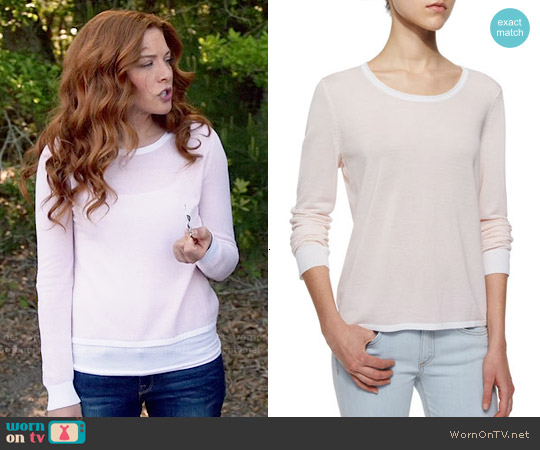 Rag & Bone The Lynsey Split Back Top worn by Rachelle Lefevre on Under the Dome