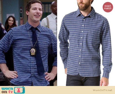 Rag & Bone 3/4 Placket Shirt in blue worn by Andy Samberg on Brooklyn 99