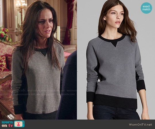 Rag & Bone The Basic Raglan French Terry Sweatshirt worn by Alexandra Park on The Royals