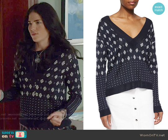 Rag & Bone Abigale Pullover V-Neck Top worn by Karla Souza on HTGAWM