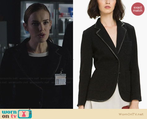 Rag & Bone Bromley Leather Trim Knit Blazer worn by Elizabeth Henstridge on Agents of SHIELD