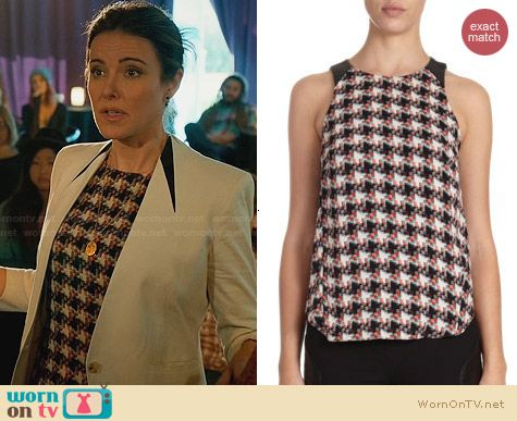 Rag & Bone Clemence Houndstooth Tank worn by Christa Miller on Cougar Town