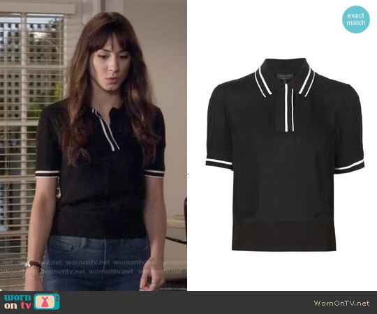 Rag & Bone Dana Polo Top in Black worn by Troian Bellisario on PLL
