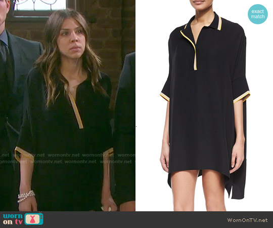 Rag & Bone 'Dana' Silk Striped-Trim Tunic worn by Marci Miller on Days of our Lives