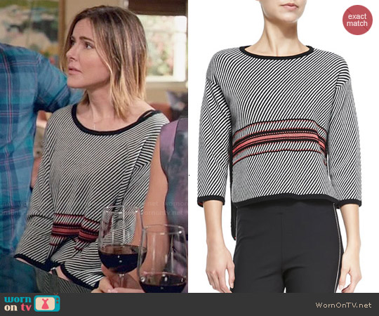 Rag & Bone 'Dawn' 3/4 Sleeve Striped Pullover worn by Christa Miller on Cougar Town