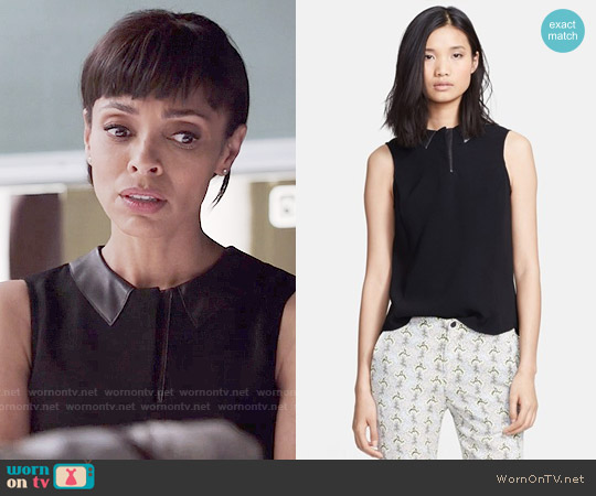 Rag & Bone Easy Becker Leather Trim Top worn by Tamara Taylor on Bones