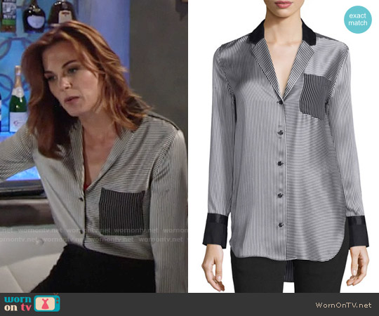Rag & Bone Farah Striped Silk Blouse worn by Gina Tognoni on The Young & the Restless