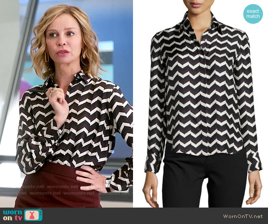 Rag & Bone Faye Chevron Print Silk Shirt worn by Calista Flockhart on Supergirl