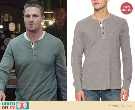 Rag & Bone Flame Henley worn by Stephen Amell on Arrow