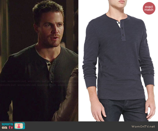 Rag & Bone Flame Jersey Henley worn by Stephen Amell on Arrow