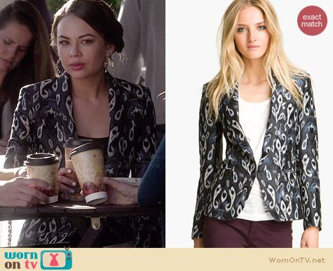 Rag & Bone Ikat Print Tuxedo Jacket worn by Janel Parrish on PLL
