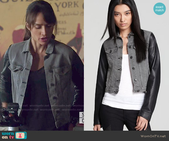 Rag & Bone Jean Jacket with Leather Sleeves worn by Nina Lisandrello on Beauty & the Beast