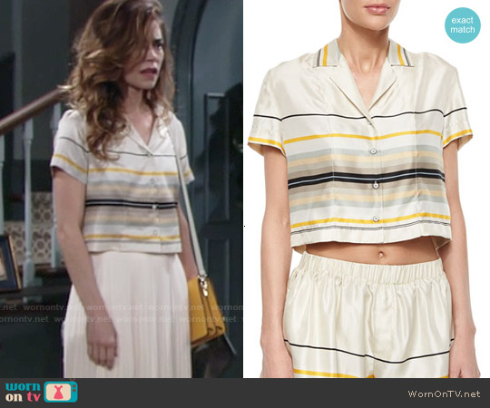 Rag & Bone Layne Short Sleeve Striped Top worn by Amelia Heinle on The Young & the Restless