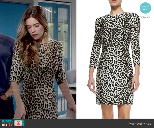 Rag & Bone 3/4 Sleeve Fitted Leopard Dress worn by Amelia Heinle on The Young & the Restless