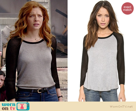 Rag & Bone Lexie Colorblocked Raglan Pullover worn by Rachelle Lefevre