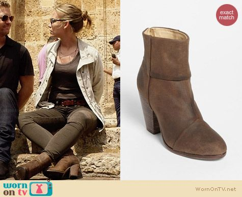 Rag & Bone Newbury Bootie in Brown Wax Suede worn by Piper Perabo on Covert Affairs
