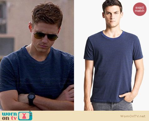 Rag & Bone Perfect Stripe Tee worn by Aaron Tveit on Graceland