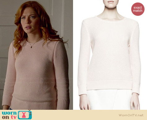 Rag & Bone Rita Waffle Knit Sweater in Blush worn by Rachelle Lefevre on Under the Dome