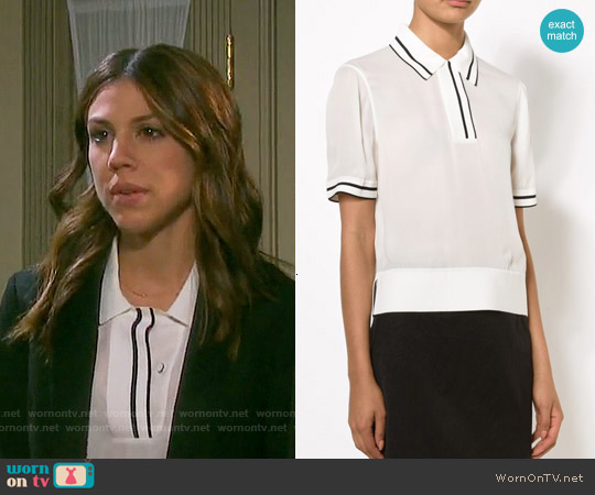 Rag & Bone Dana Silk Polo worn by Marci Miller on Days of our Lives