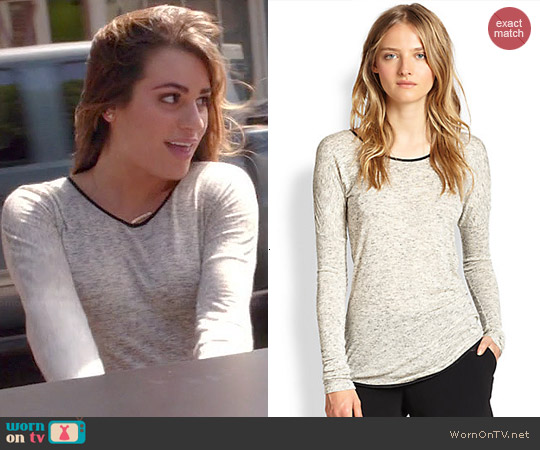 Rag & Bone Spine Leather Piping Trimmed Tee worn by Rachel Berry on Glee