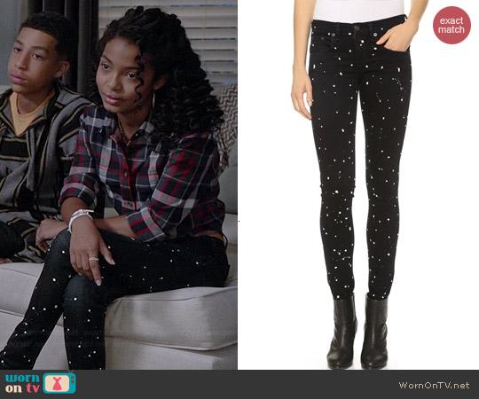 Rag & Bone Splatter Jeans worn by Yara Shahidi on Black-ish