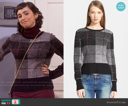 Rag & Bone Tegan Plaid Sweater worn by  Molly Ephraim on Last Man Standing
