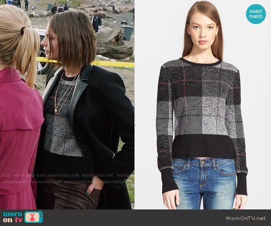 Rag & Bone Tegan Plaid Sweater worn by Willa Holland on Arrow